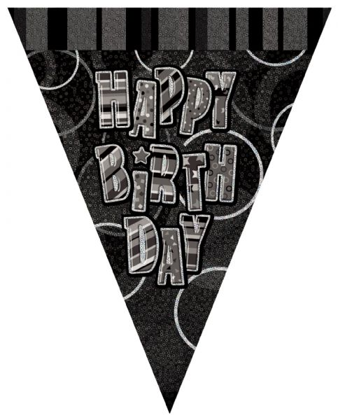 Black Glitz Happy Birthday Flag Banner